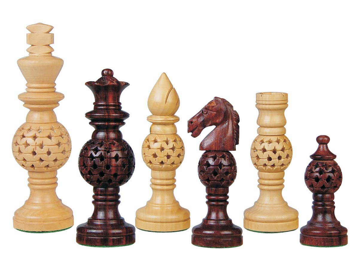 Globe design artistic wood chess set pieces rosewood