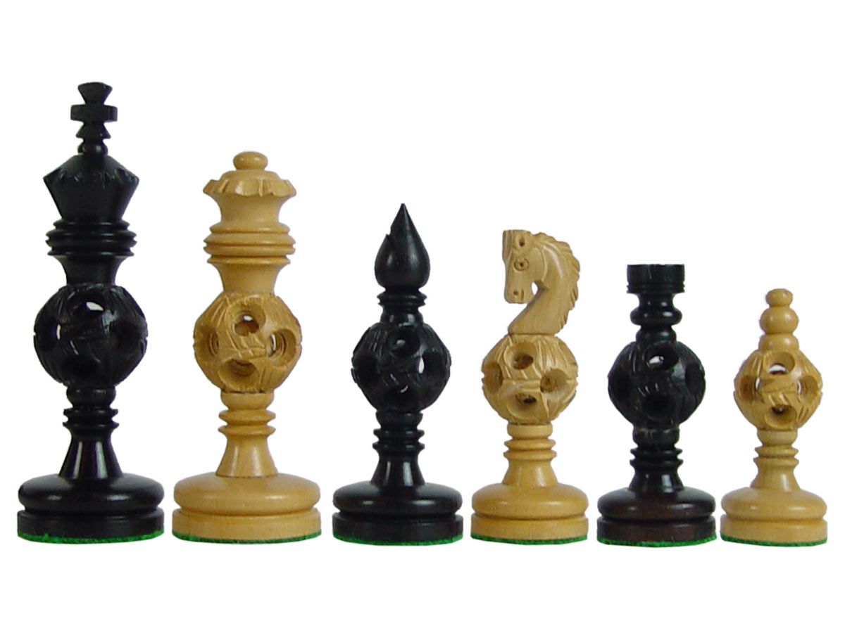 Magic Balls Wooden Artistic Chess Pieces Ebony/Boxwood 4""