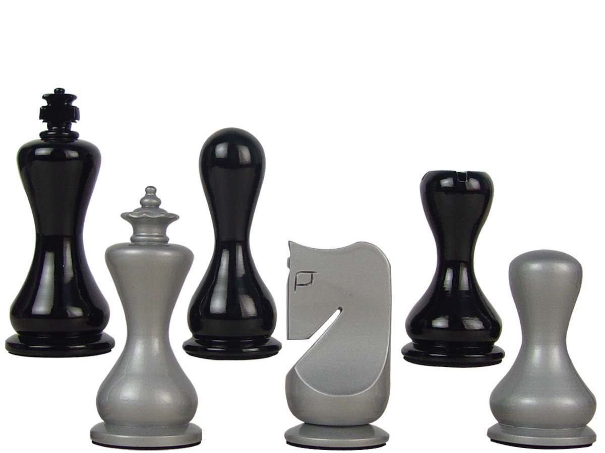 "Modern Round Artistic Wooden Chess Set Pieces 3-3-/4"" Silver/Black Colored"
