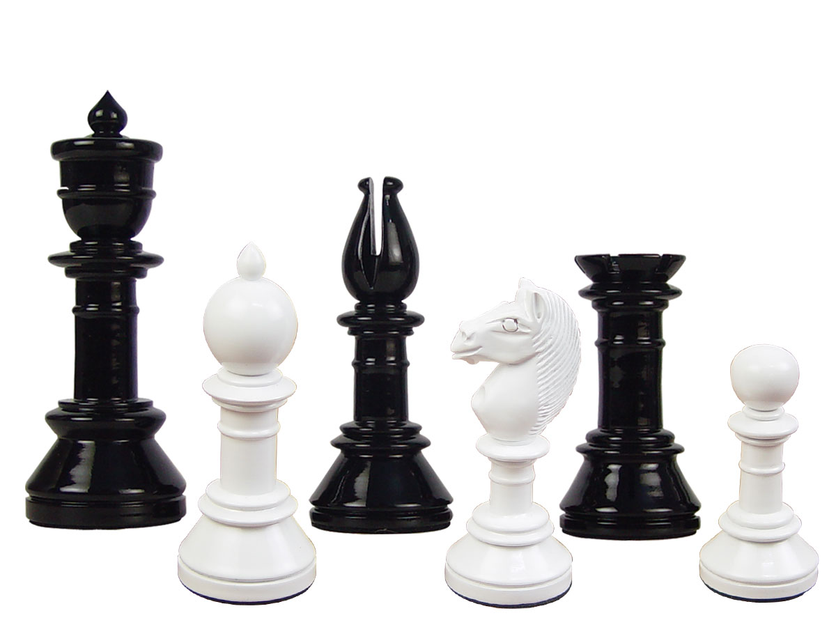 "Edinburgh Upright Antique Reproduction Chess Set Pieces 4-3/8"" Black/Ivory Colored"