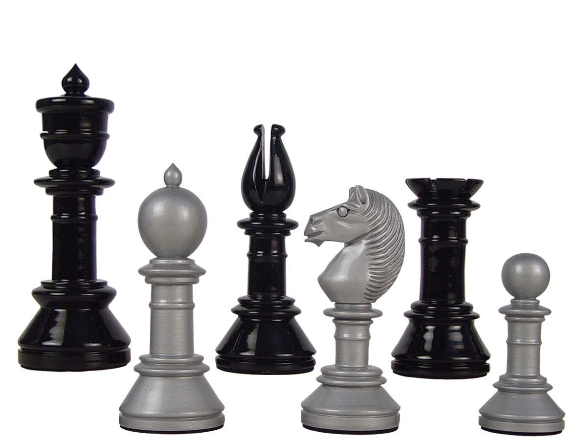 "Edinburgh Upright Antique Reproduction Chess Set Pieces 4-3/8"" Silver/Black Colored"