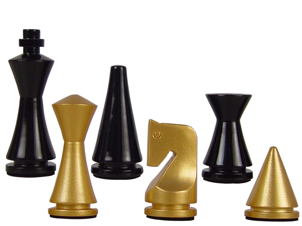 Artistic modern pyramid wood chess set pieces king size 3 gold black colored - Simple chess set ...