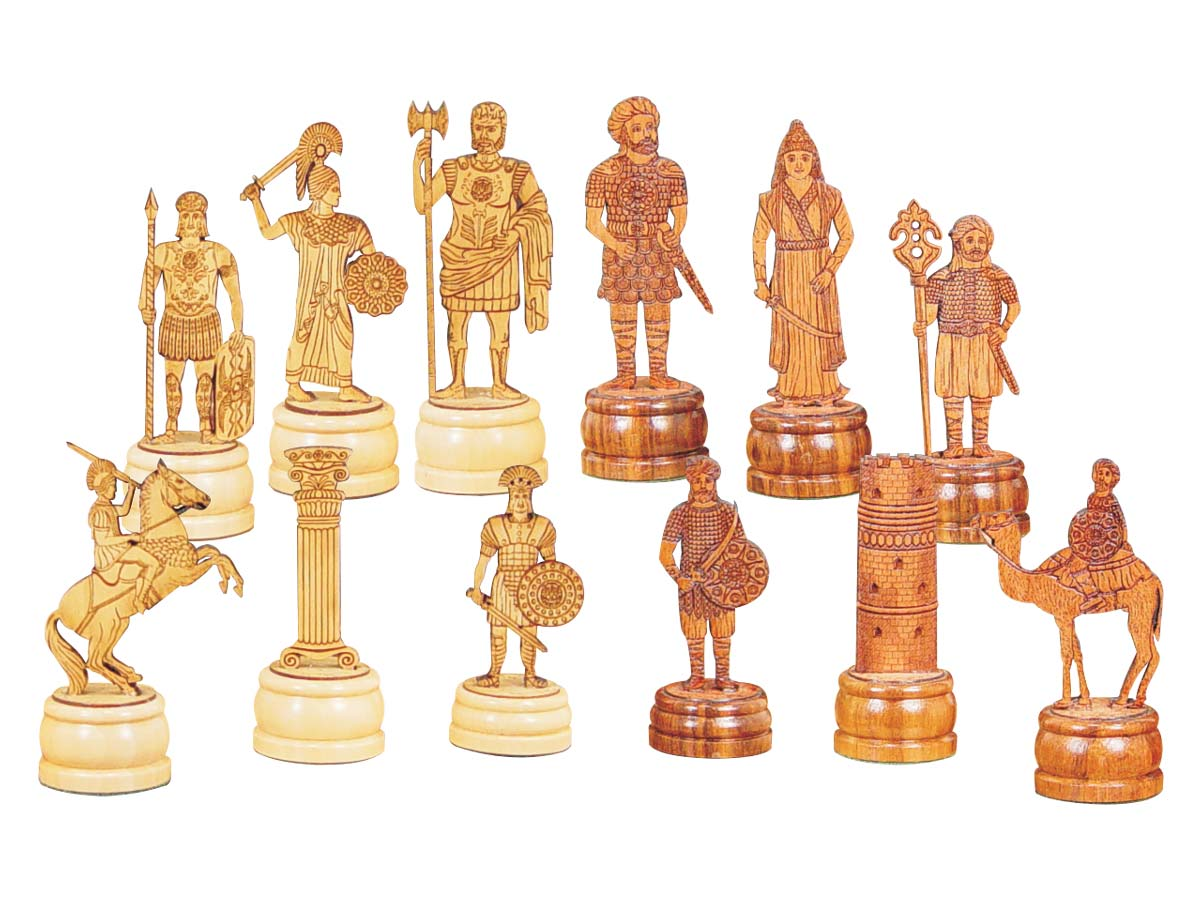 "Roman Arabian Theme Chess Pieces 5"" American Cherry/Boxwood"