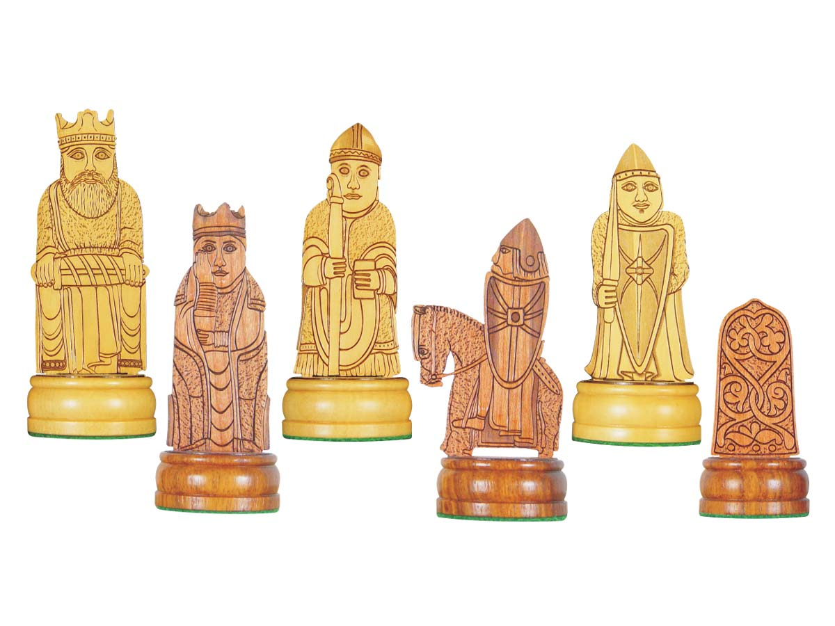 Isle of Lewis Theme Chess Pieces American Cherry/Boxwood 4-1/4""