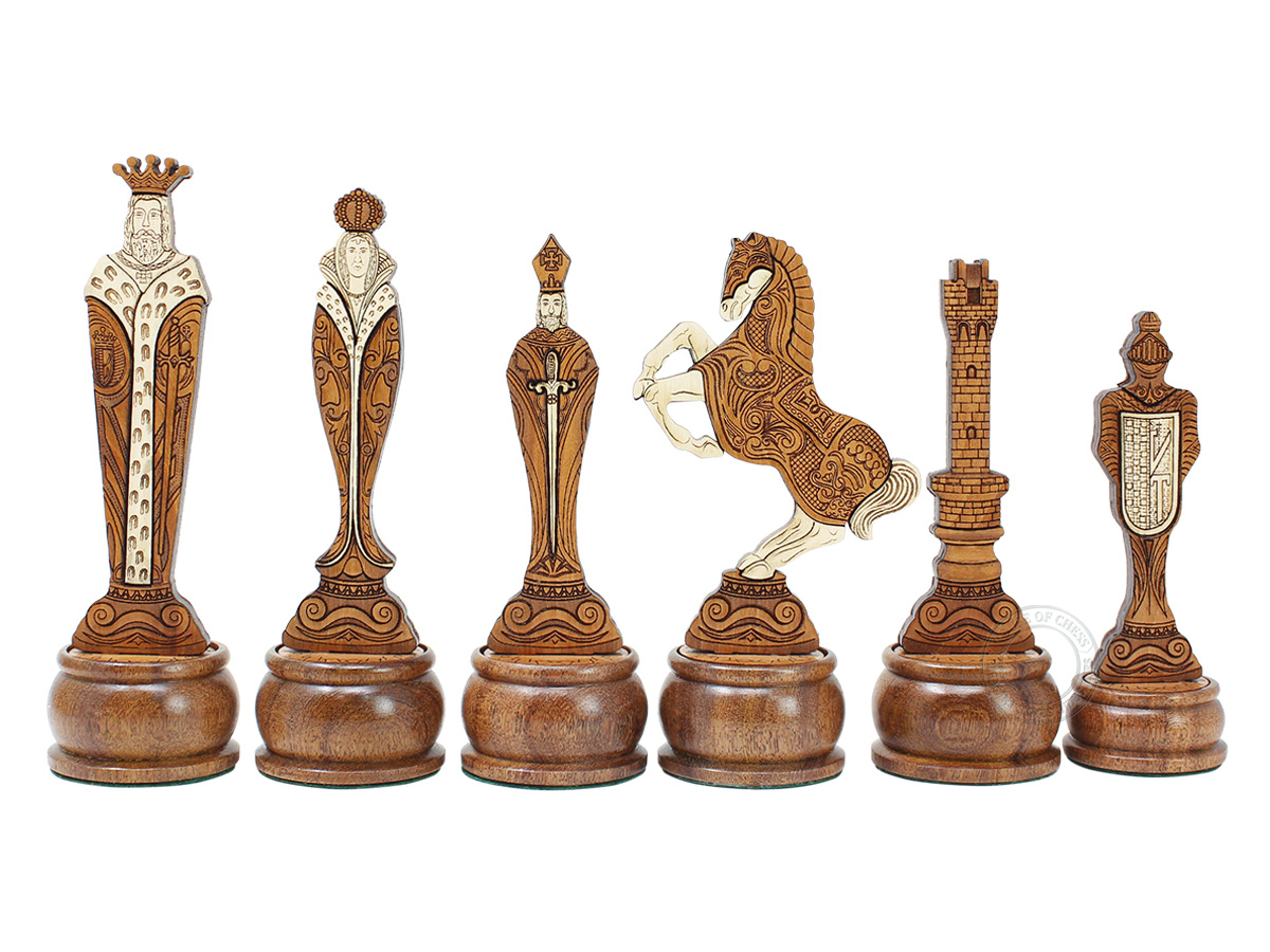 Renaissance Theme Chess Pieces American Cherry/Boxwood 5-3/4""