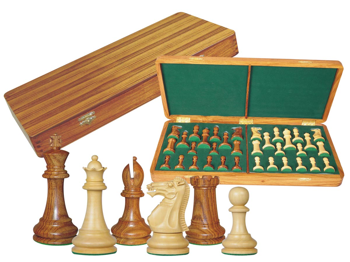 "Monarch Staunton Chess Set Pieces 4"" & Wooden Presentation Storage Box Golden Rosewood"