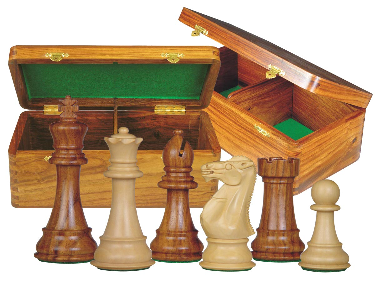 "Imperial Staunton Chess Set Pieces 4"" & Wooden Hinged Storage Box Golden Rosewood"