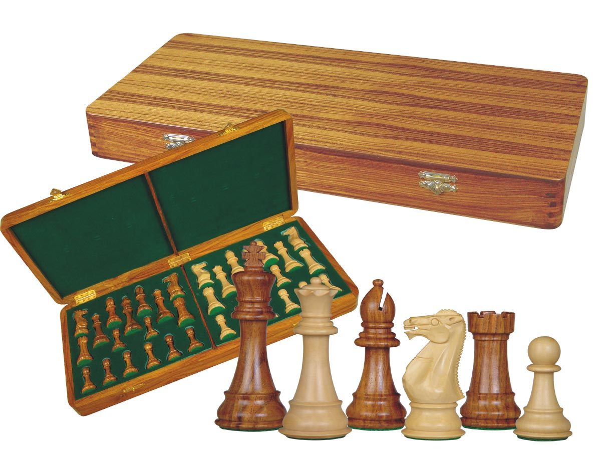 "Imperial Staunton Chess Set Pieces 4"" & Wooden Presentation Storage Box Golden Rosewood"