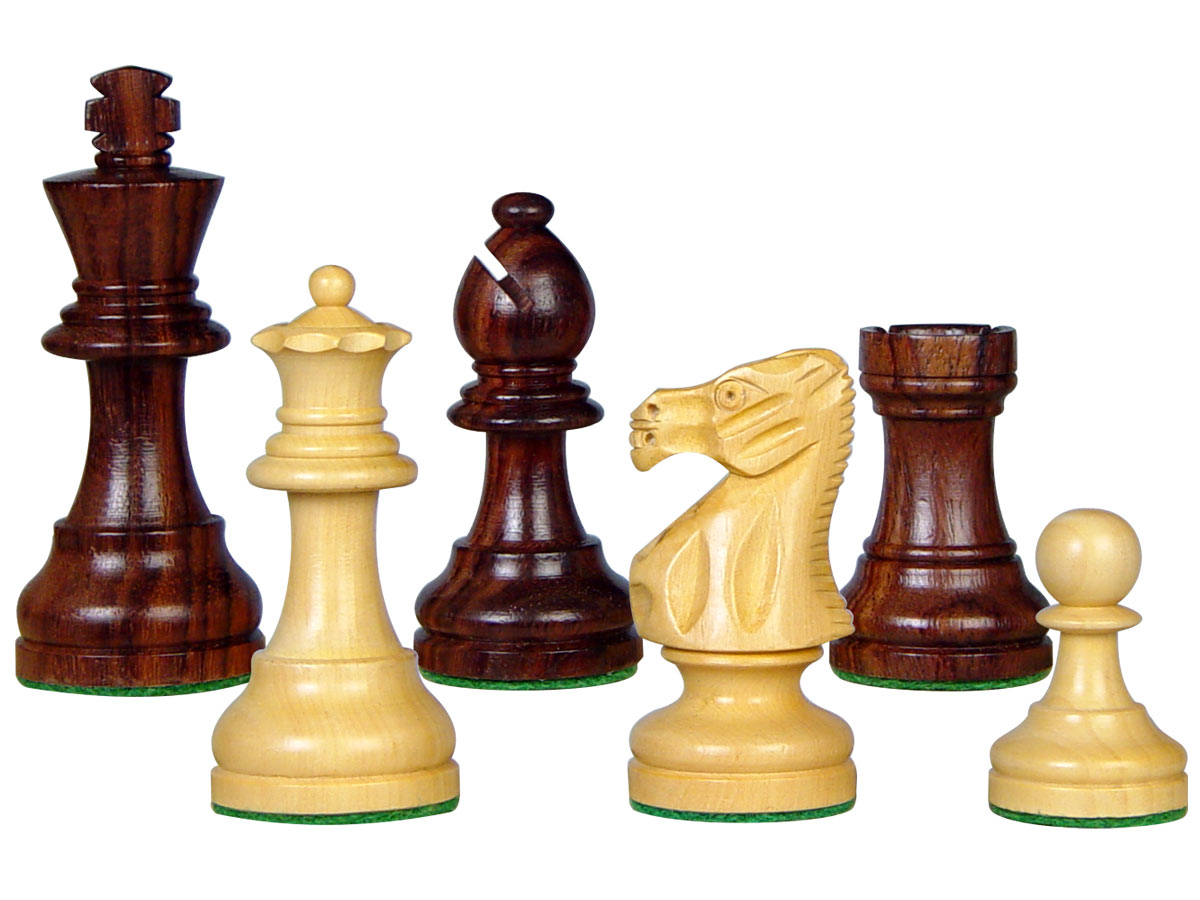 "Popular Staunton Wooden Chess Pieces King Size 3"" Rosewood/Boxwood"
