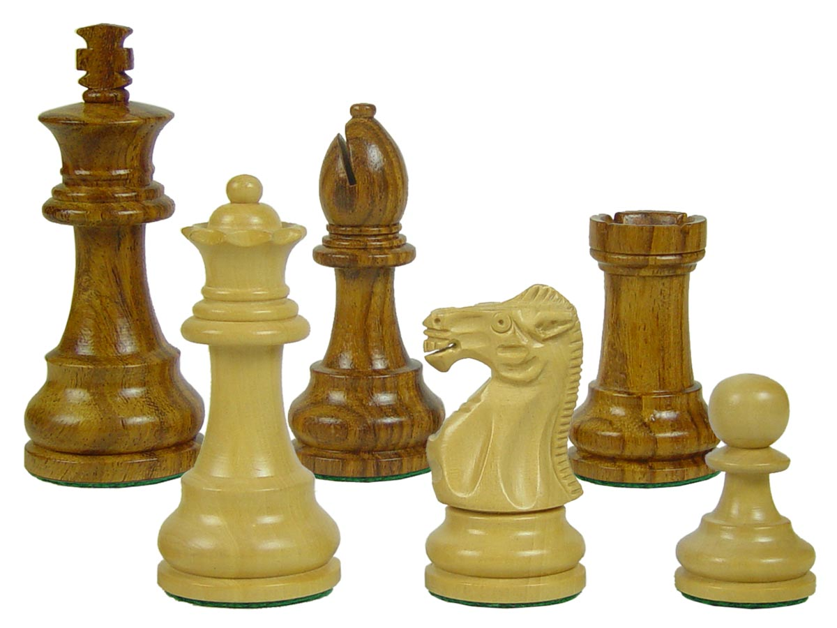 "Wooden Unique Staunton Chess Pieces King Size 3-1/2"" Golden Rosewood/Boxwood"