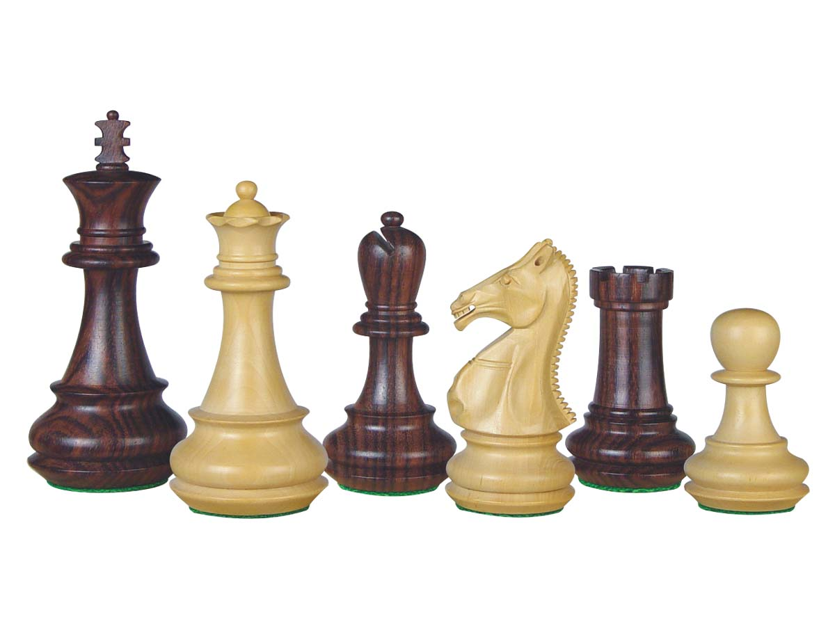 "Rose Wood Chess Set Pieces Royal King 4-1/4"" + 2 Extra Queens"