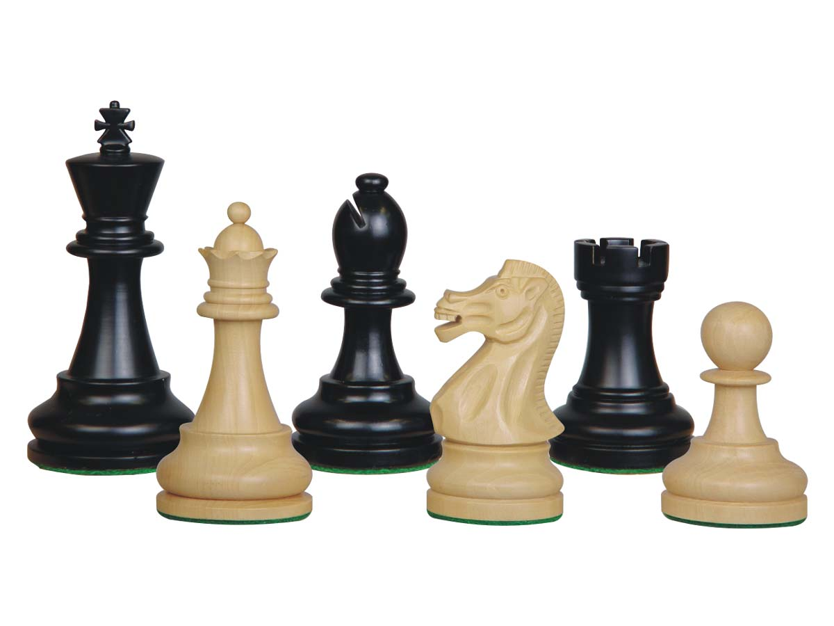 Sovereign Staunton Wood Chess Pieces Ebonized/Boxwood 4""