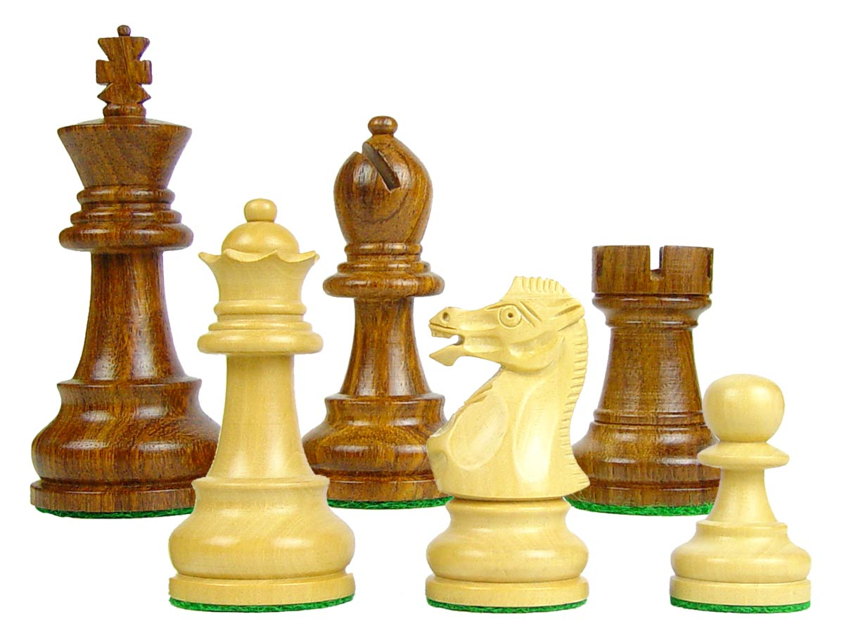 "Chess Set Pieces Sovereign Staunton 3-1/4"" Golden Rosewood/Boxwood"
