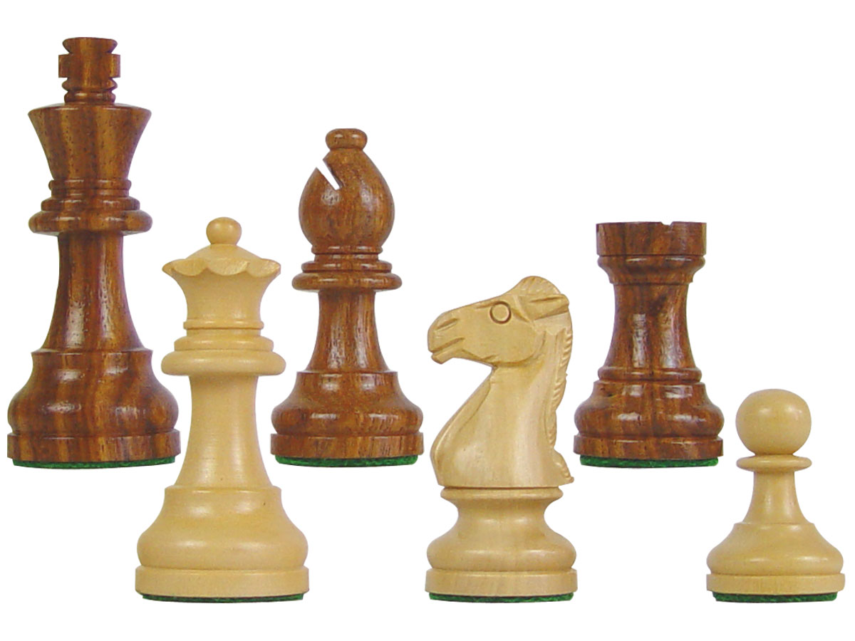 "Famous Staunton Wood Chess Pieces King Size 3"" Golden Rosewood/Boxwood"