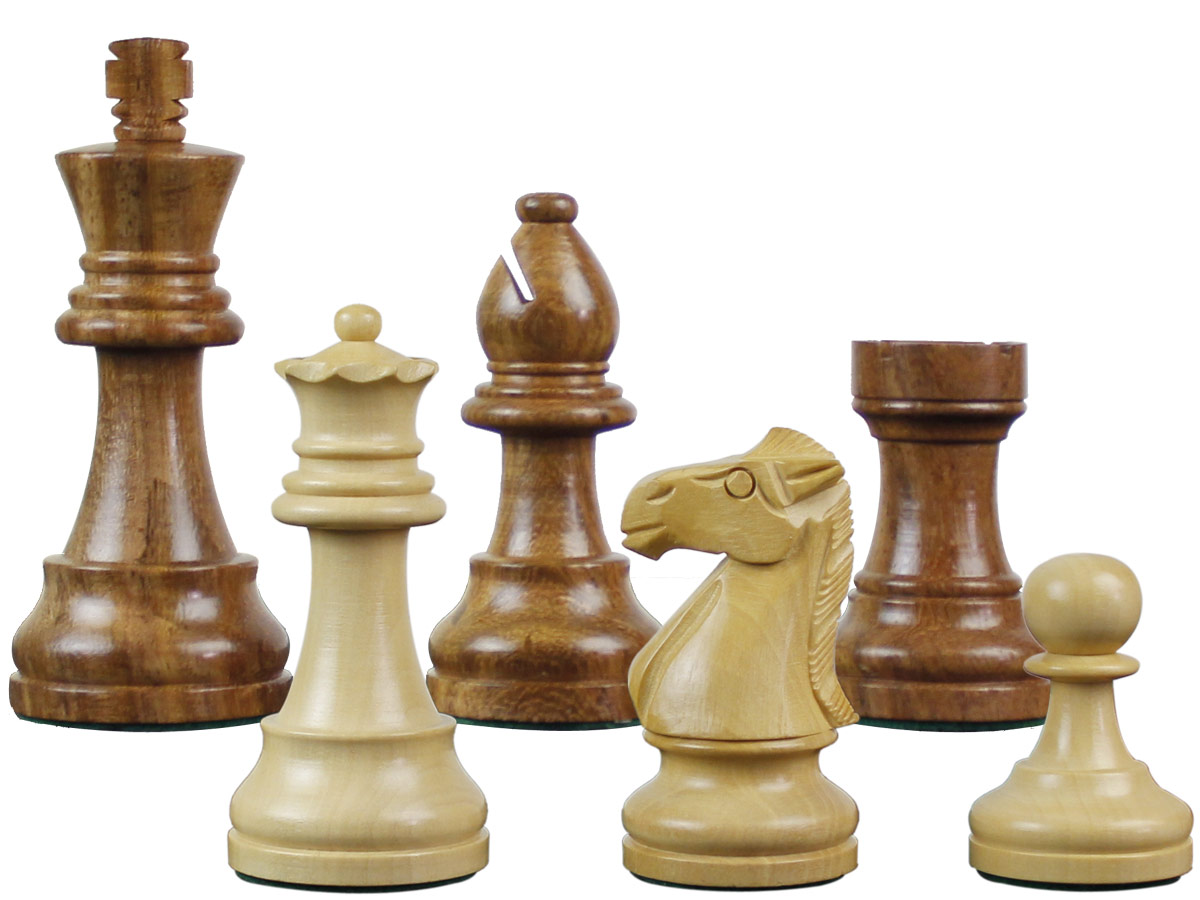"Famous Staunton Wood Chess Pieces King Size 3-1/4"" Golden Rosewood/Boxwood"