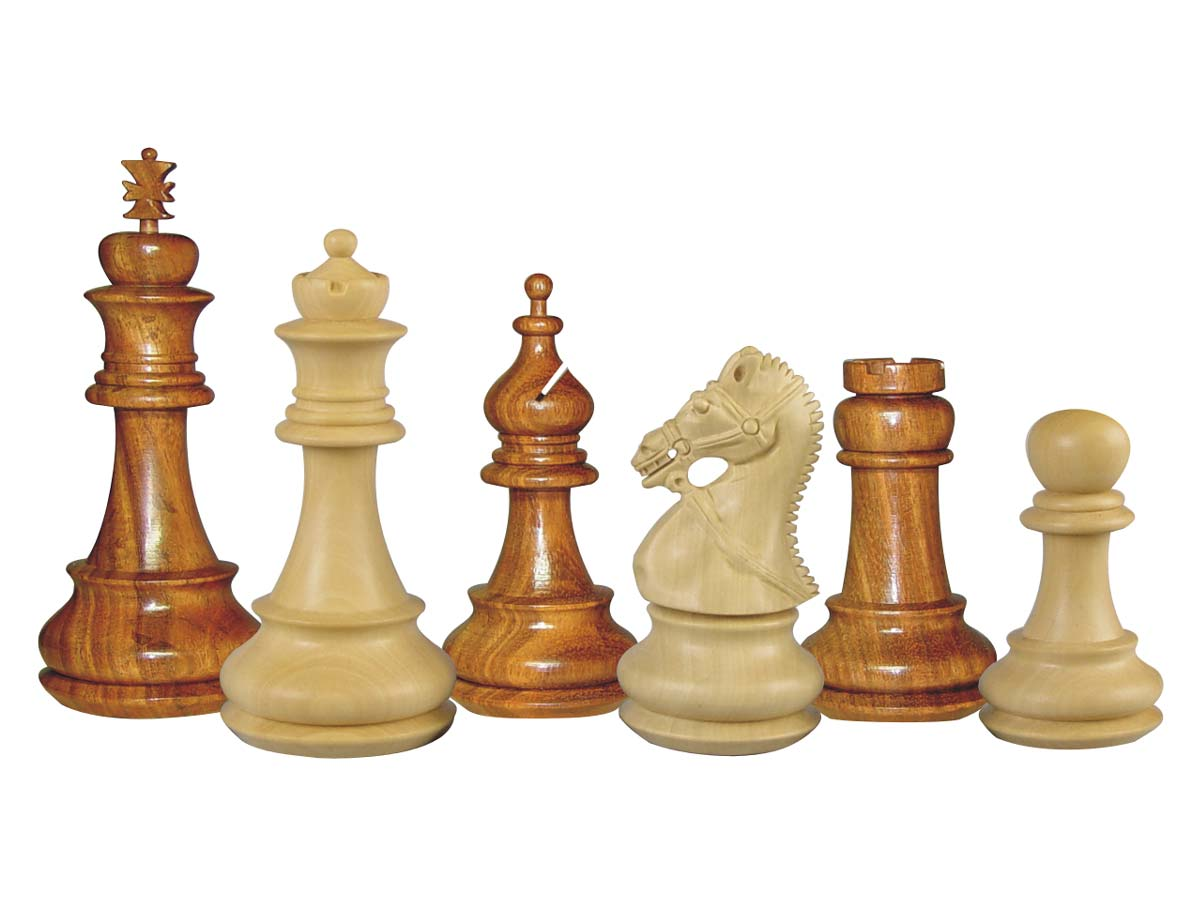 Premier Chess Pieces Regalia Staunton Golden Rosewood/Boxwood 4-1/2""