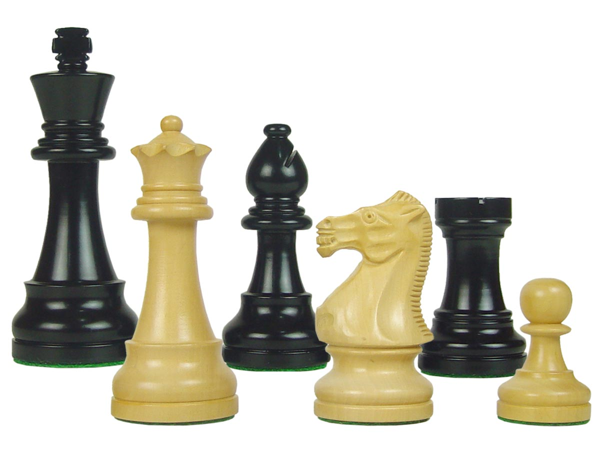 "Tournament Style Popular Staunton Wooden Chess Pieces King Size 4"" Ebonized/Boxwood"