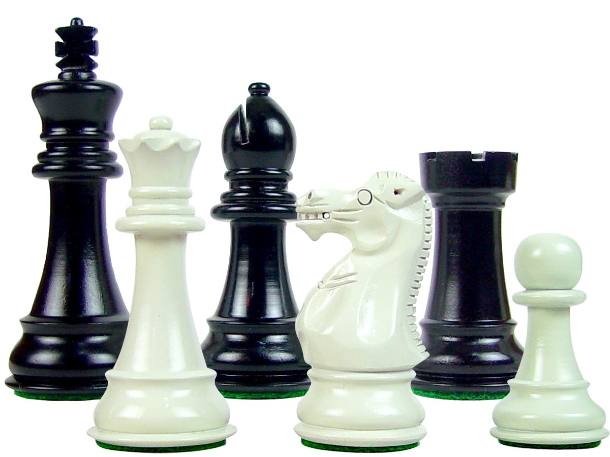 Perfect Tournament Chess Set Pieces Imperial Staunton Black/Ivory 4""