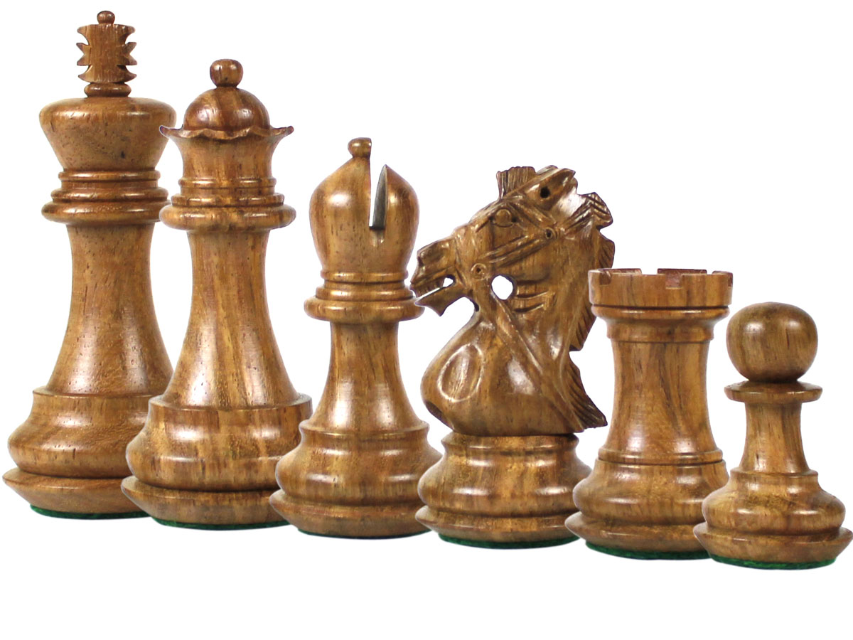 Bridle Knight Staunton Golden Rosewood Chess Pieces