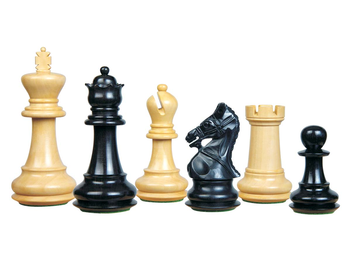 Premier Chess Set Pieces Royal Crown Staunton Ebonized/Boxwood 4-1/4inch