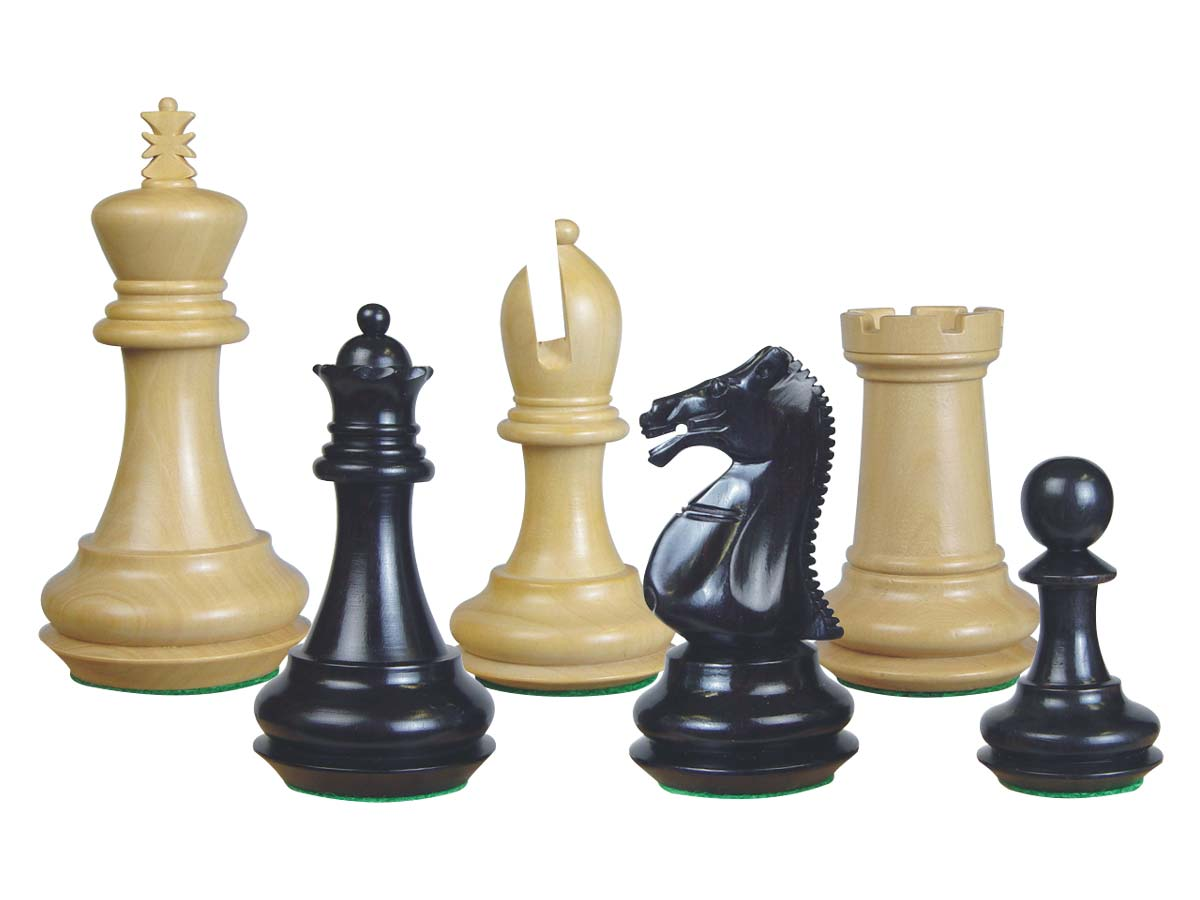 Emperor Staunton Wooden Chess Pieces Ebony/Boxwood 4""