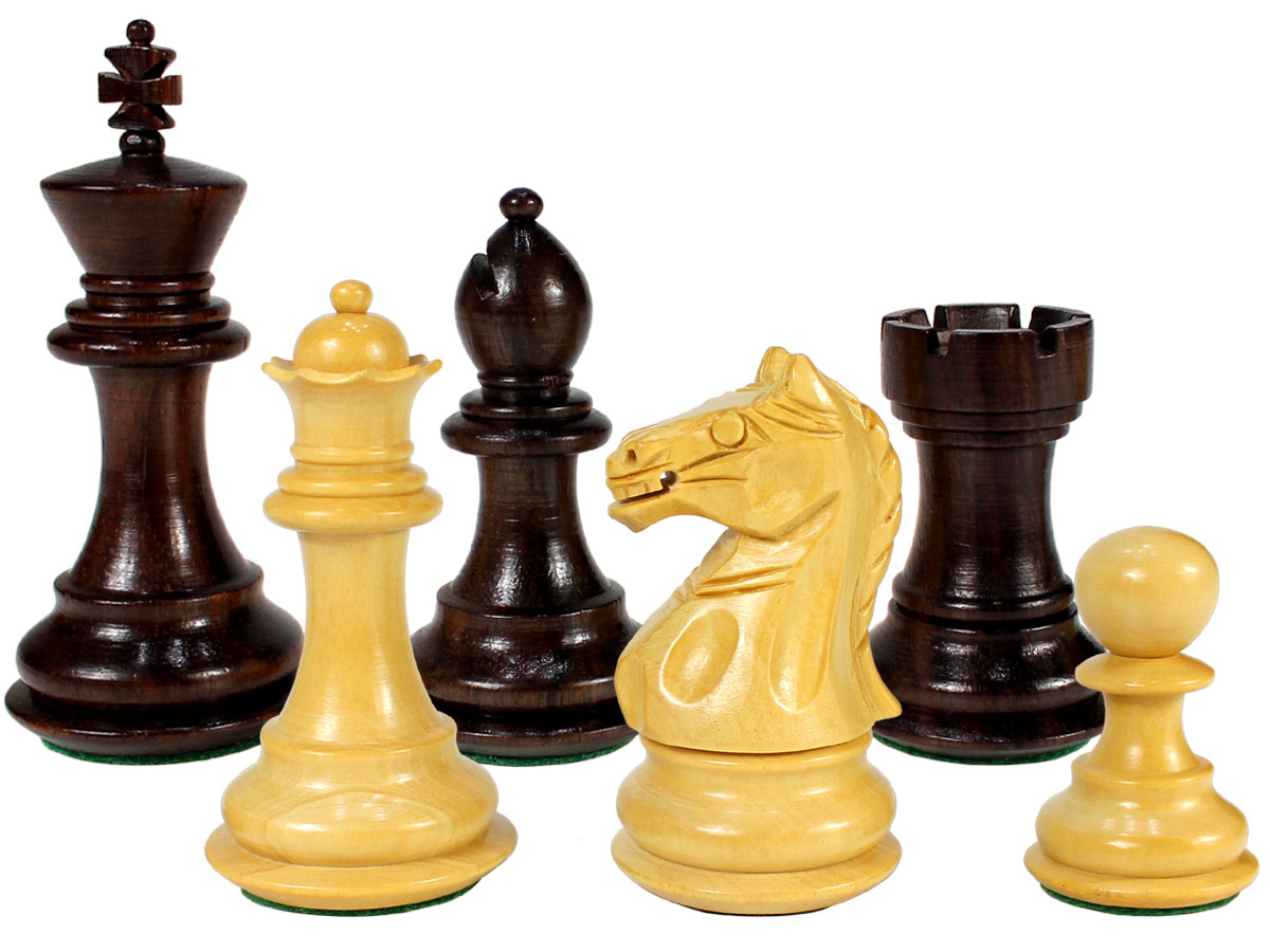"Fierce Knight Wooden Chess Pieces King Size 3"" Rosewood/Boxwood"