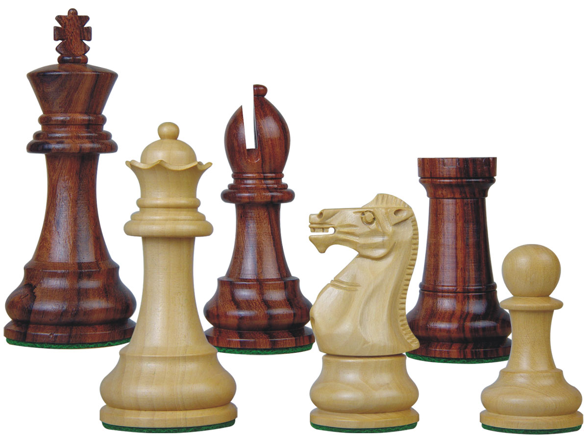 Tournament Chess Pieces Wooden Monarch Staunton Rosewood/Boxwood 3-3/4""