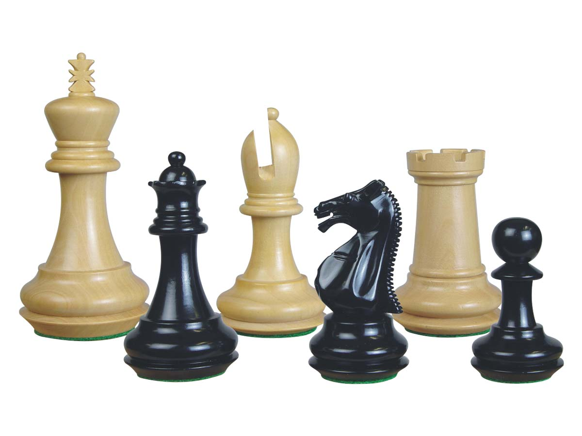 Emperor Staunton Wooden Chess Pieces Ebonized/Boxwood 4""
