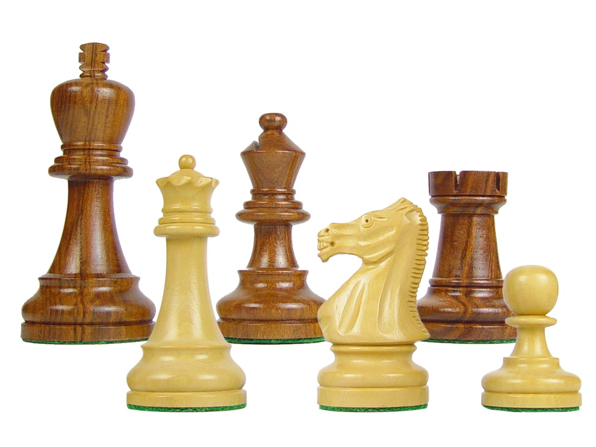 "Wood Chess Set Pieces Broad Base Staunton King Size 3-3/4"" Golden Rosewood/Boxwood"