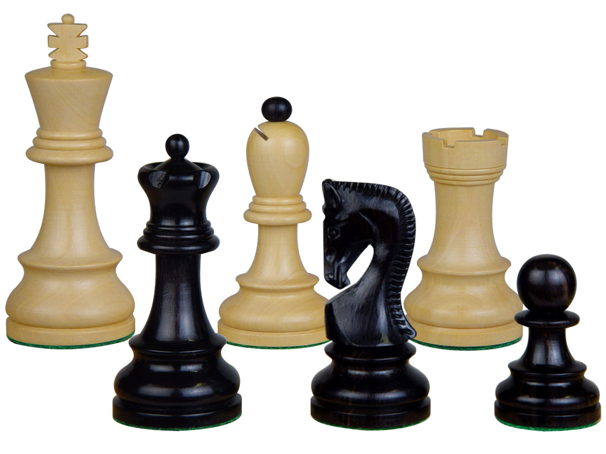 "Yugo (Zagreb) Staunton Wooden Tournament Chess Pieces King Size 3-3/4"" Ebonized/Boxwood + 2 Extra Queens"