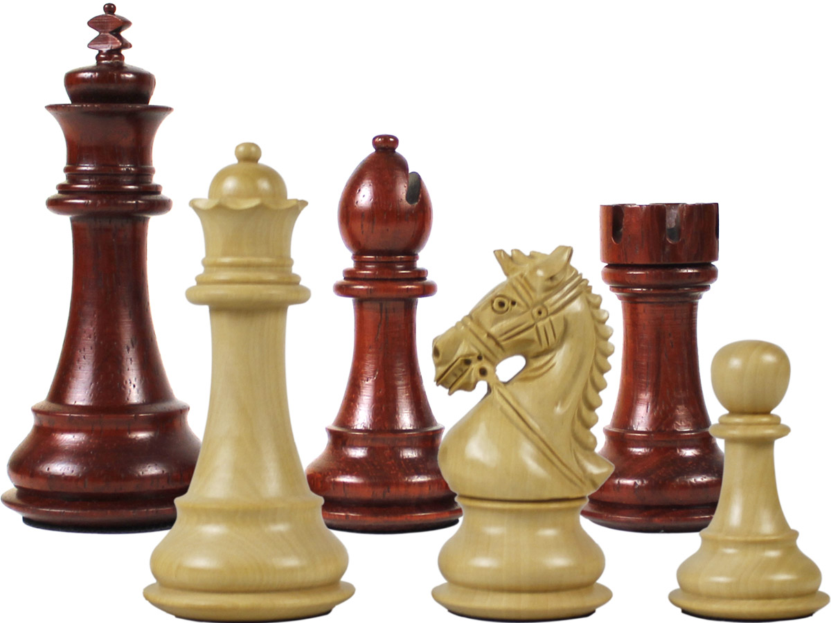 "Premier Chess Pieces Royal Knight Staunton King Size 4-1/2"" Blood Rosewood/Boxwood"