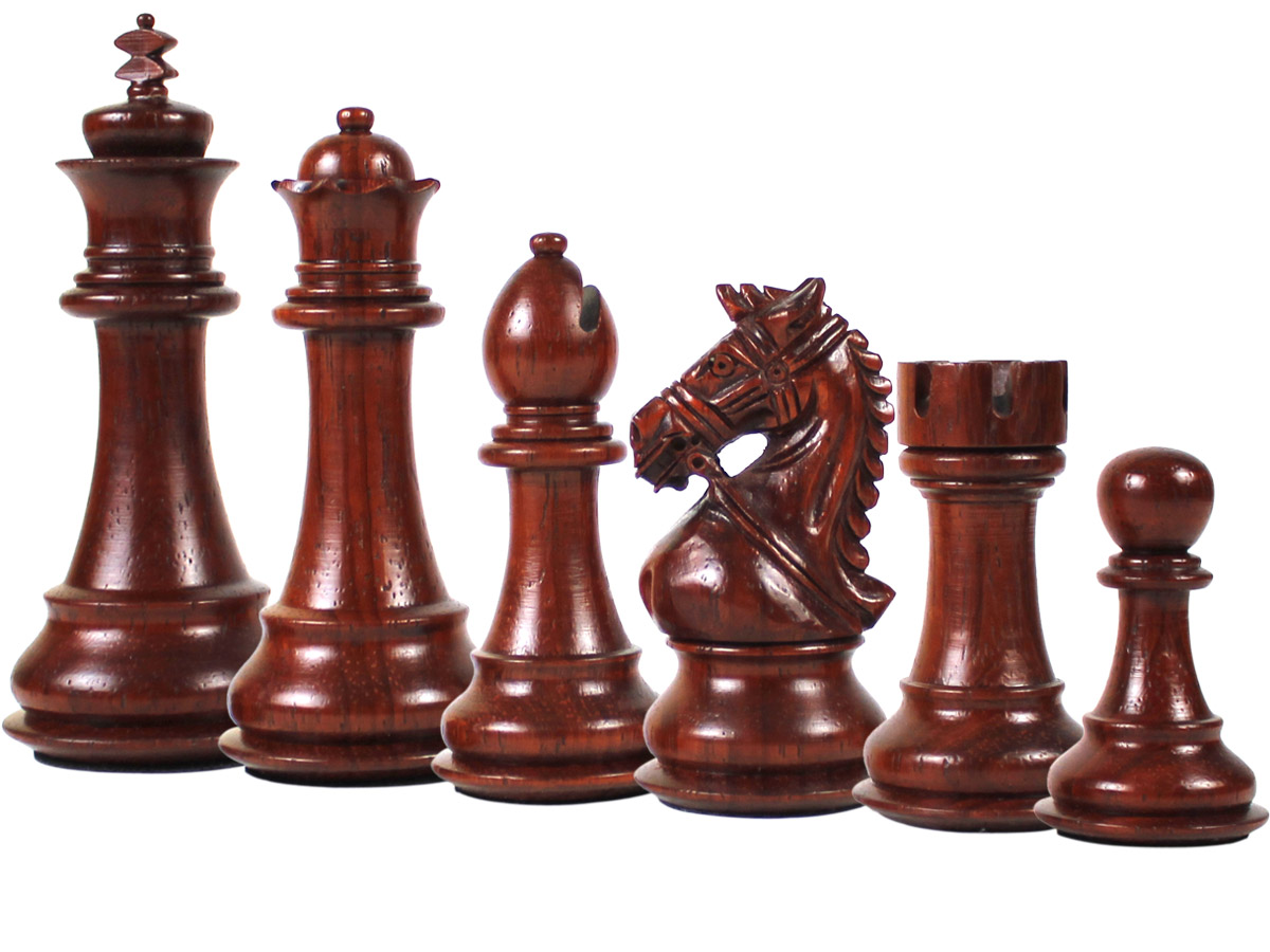 Royal Knight Staunton Blood Rosewood Chess Pieces