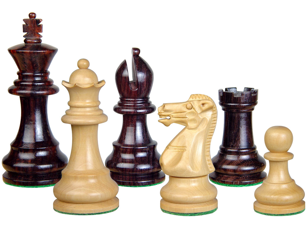 "Wood Chess Set Pieces Monarch Staunton King Size 3"" Rosewood/Boxwood"