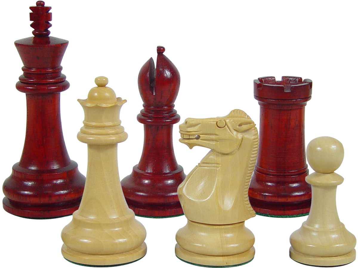 "Premier Chess Set Pieces Monarch Staunton King Size 4"" Blood Rosewood/Boxwood"