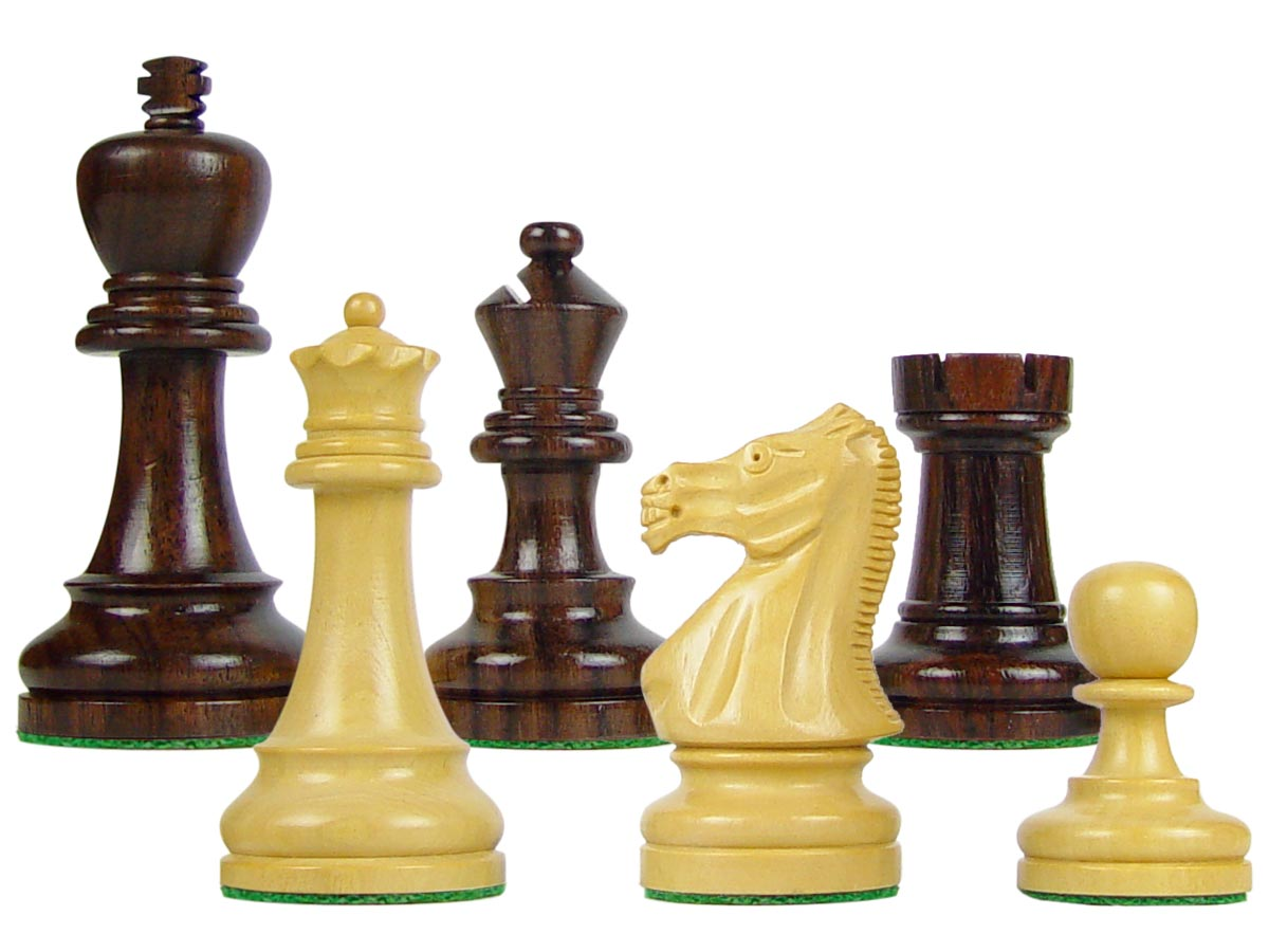 "Wood Chess Set Pieces Broad Base Staunton King Size 3-3/4"" Rosewood/Boxwood"