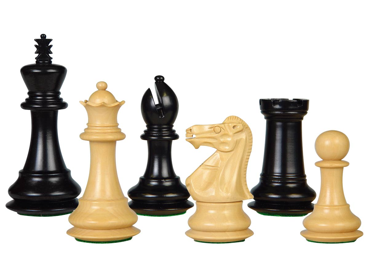 "Wooden Tournament Chess Pieces Regal Staunton 3-3/4"" Ebonized/Boxwood"