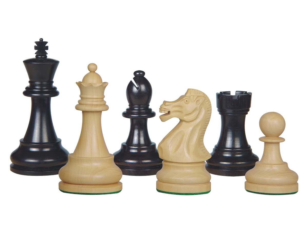 Sovereign Staunton Wood Chess Pieces Ebony/Boxwood 4""