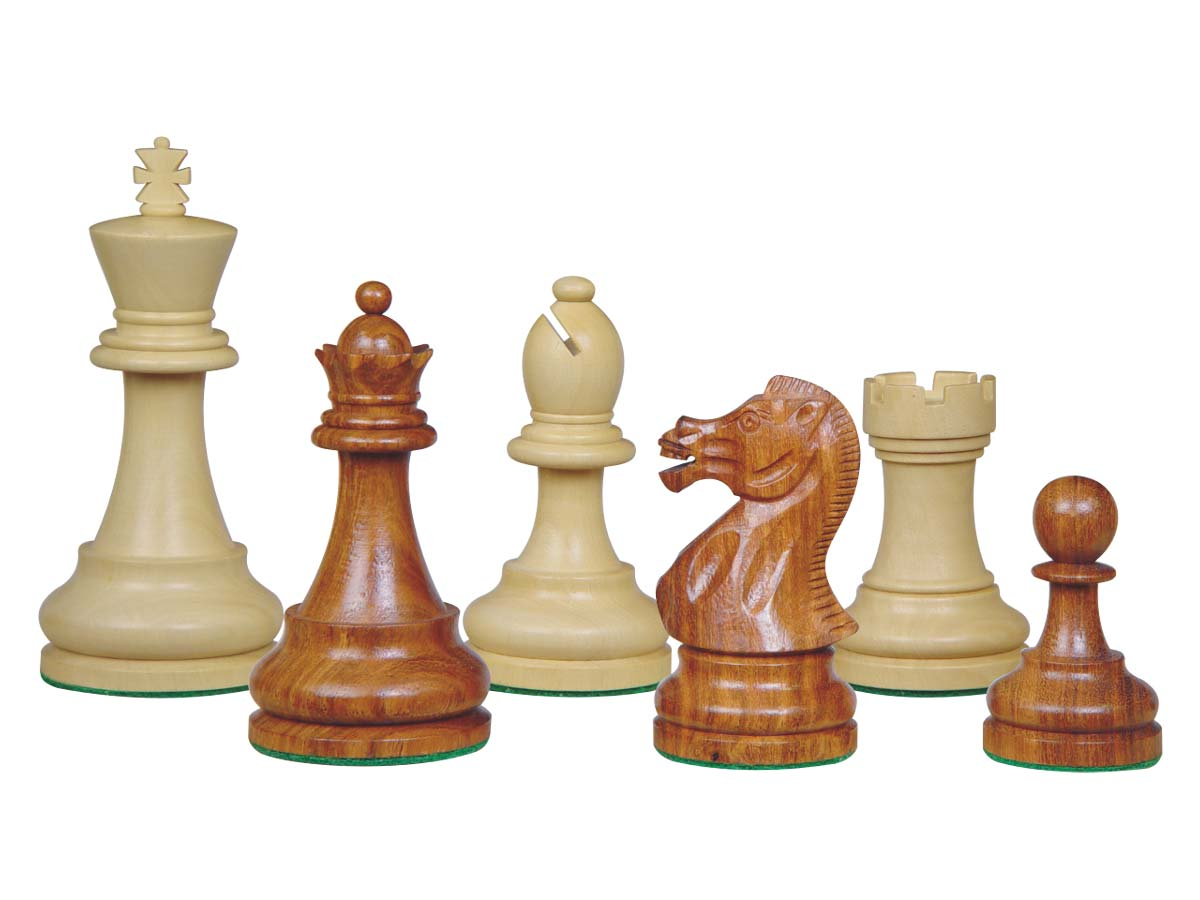 Sovereign Staunton Wood Chess Pieces Golden Rosewood/Boxwood 4""