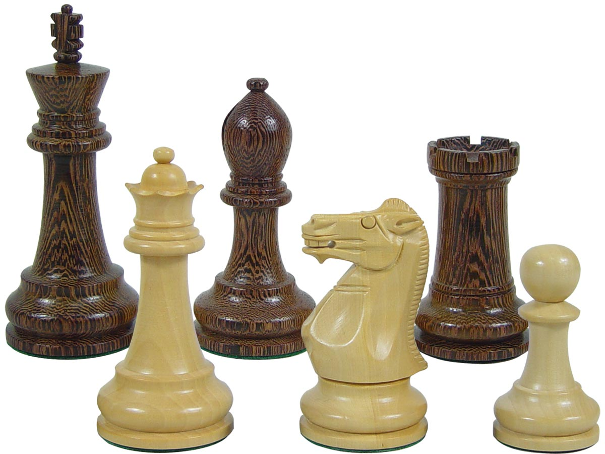 "Premier Chess Set Pieces Monarch Staunton King Size 4"" Wenge Wood/Boxwood"