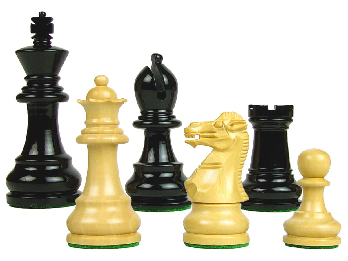"Wood Chess Set Pieces Monarch Staunton King Size 3"" Ebonized/Boxwood"