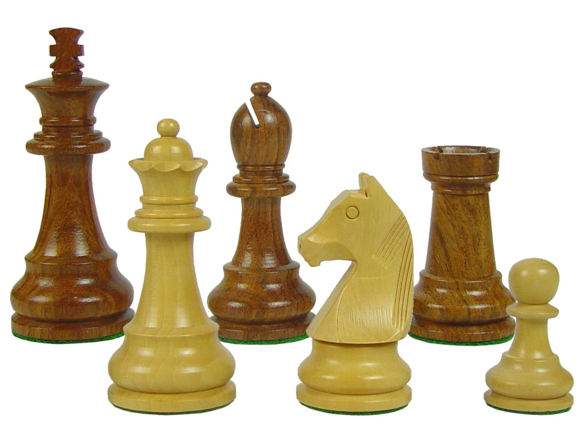 "Tournament Wood Chess Set Pieces Standard Staunton 3-3/4"" Golden Rosewood/Boxwood"