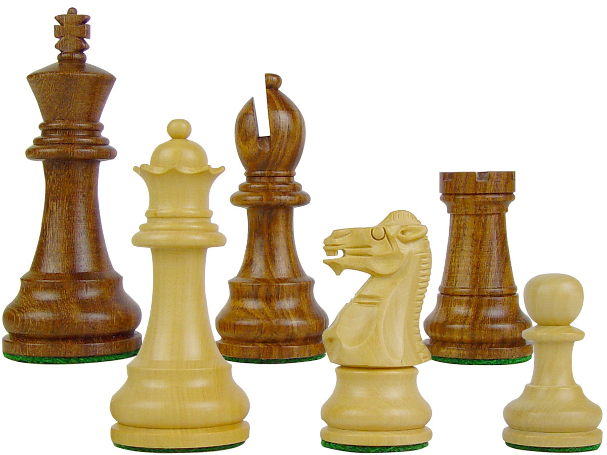 "Wood Chess Set Pieces Monarch Staunton King Size 3-1/2"" Golden Rosewood/Boxwood"