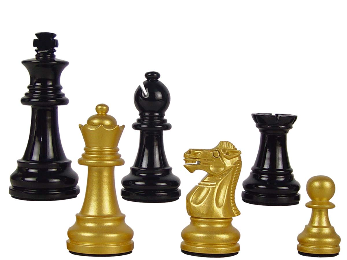 "Wood Chess Set Pieces Empire Staunton King Size 3"" Gold/Black Color"