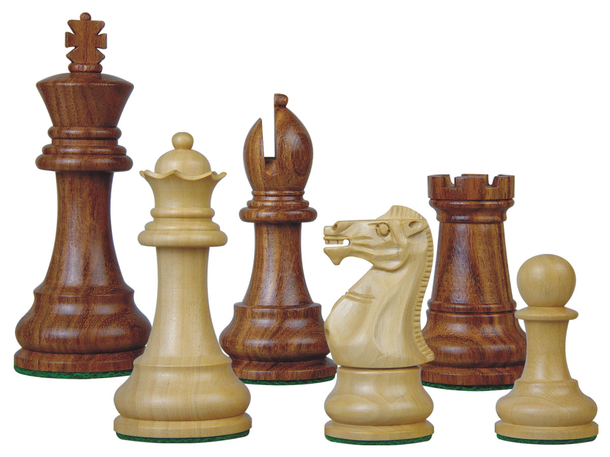 Tournament Chess Pieces Wooden Monarch Staunton Golden Rosewood/Boxwood 3-3/4""