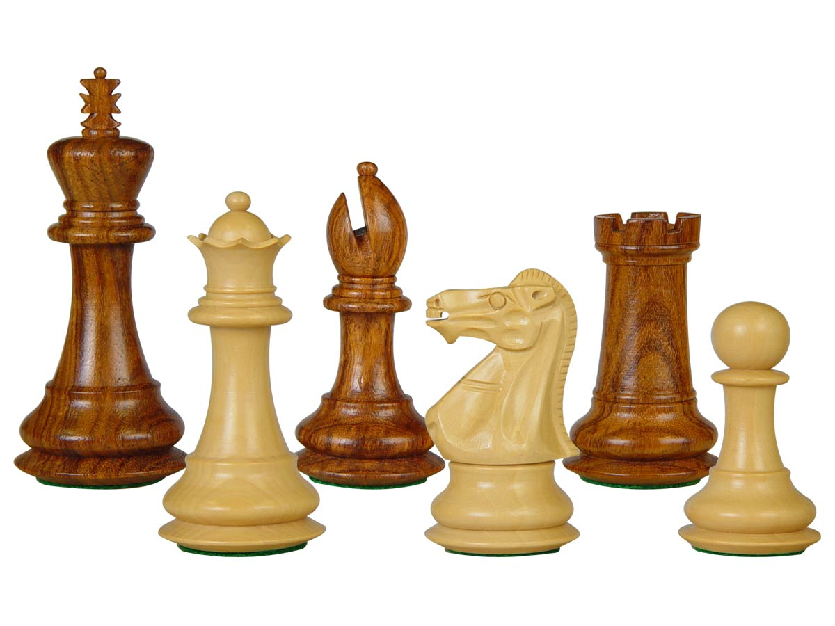 "Wooden Tournament Chess Pieces Regal Staunton 3-3/4"" Golden Rosewood/Boxwood"
