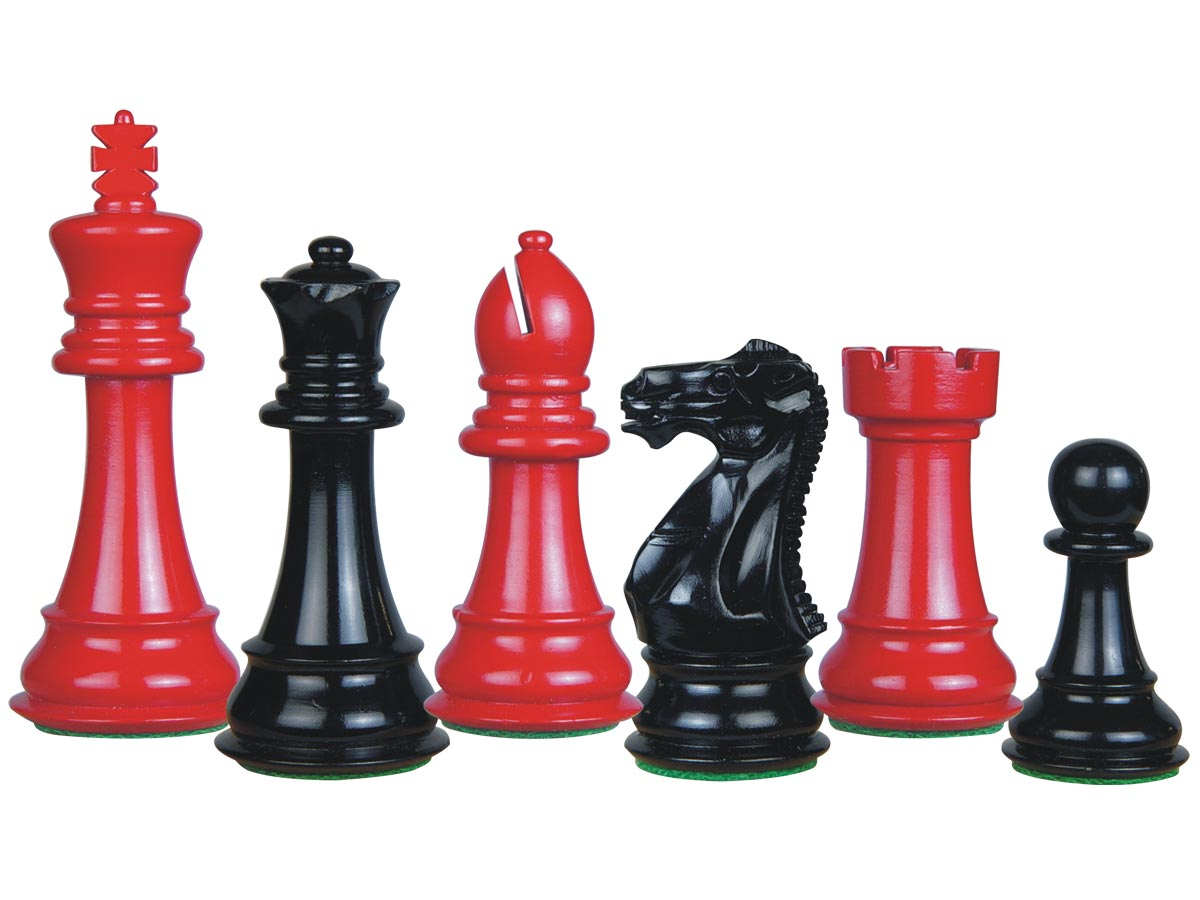 Perfect Tournament Chess Set Pieces Imperial Staunton Red/Black Lacquered 4""