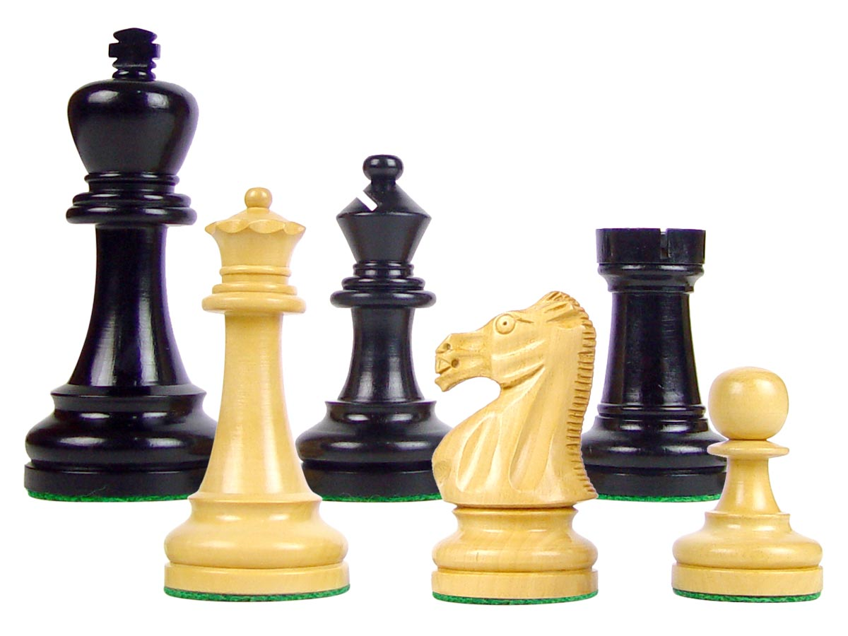 "Wood Chess Set Pieces Broad Base Staunton King Size 3-3/4"" Ebony/Boxwood"