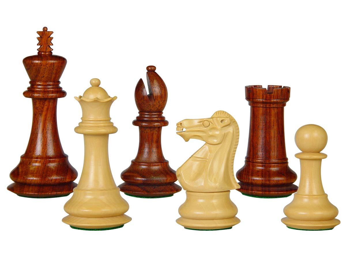 "Wooden Tournament Chess Pieces Regal Staunton 3-3/4"" Rosewood/Boxwood"