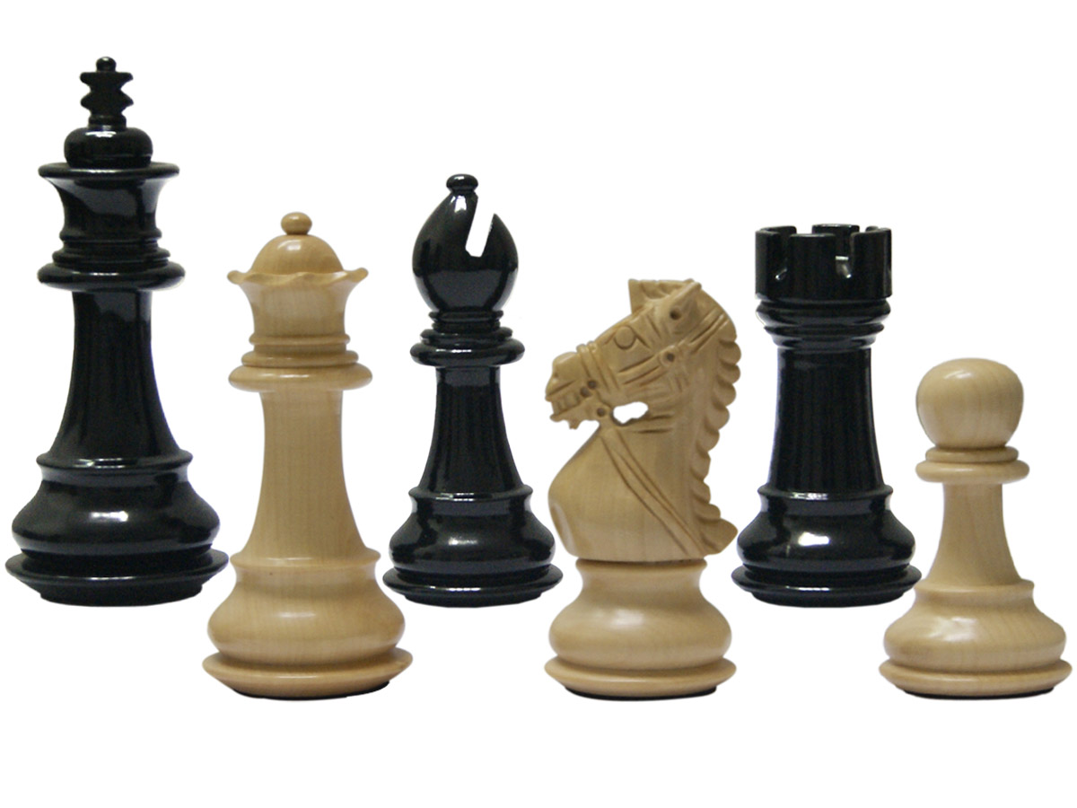 "Premier Chess Pieces Royal Knight Staunton King Size 3-3/4"" Ebonized/Boxwood"