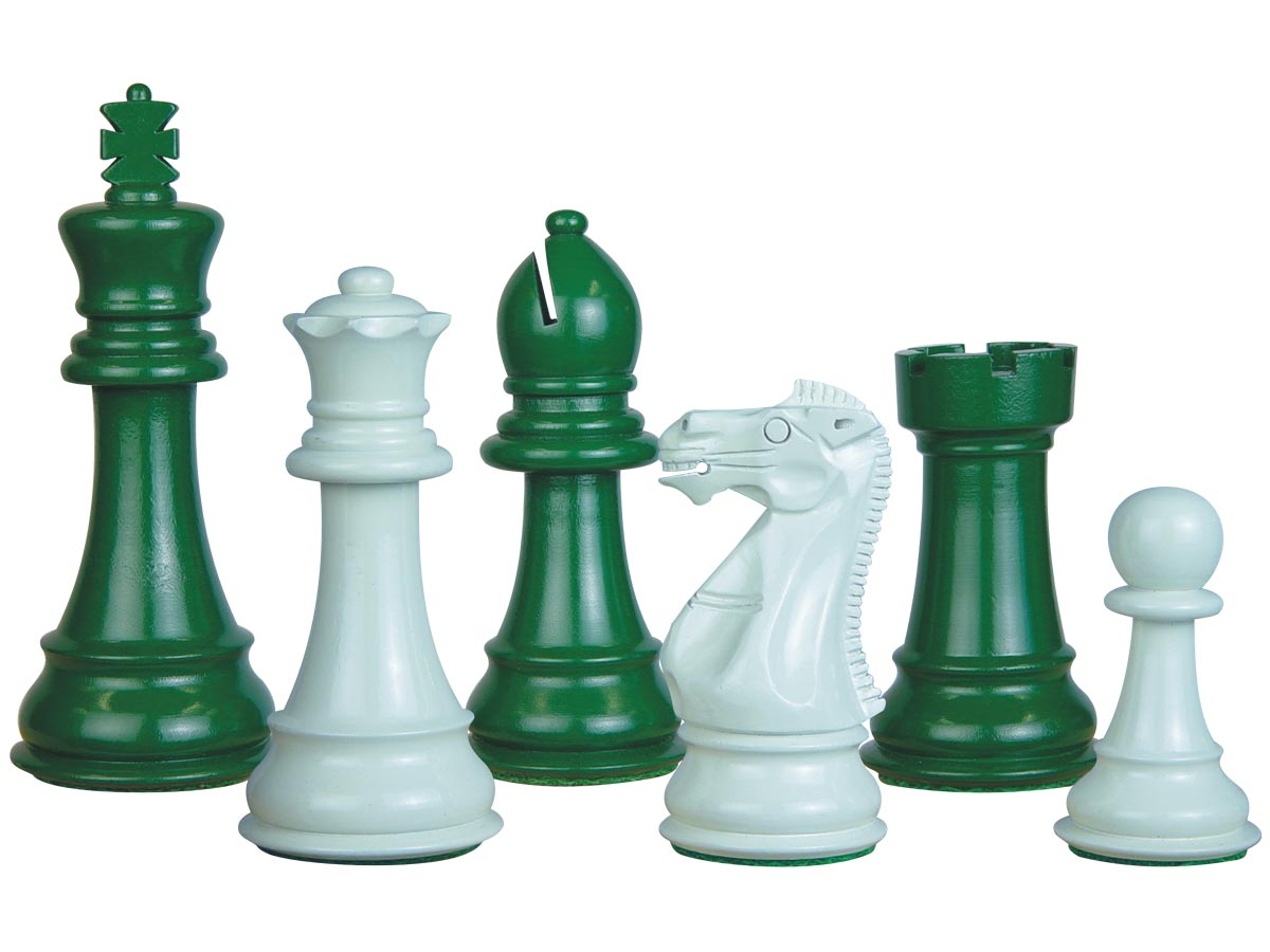Perfect Tournament Chess Set Pieces Imperial Staunton Green/Ivory Lacquered 4""